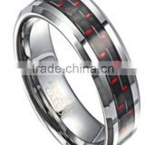 Stylish tungsten wedding ring with red carbon fiber, comfort fit inside
