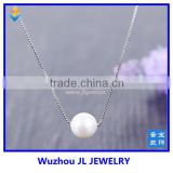 Fashion New Design Pearl Silver Box Chain Jewelry Charm Necklace