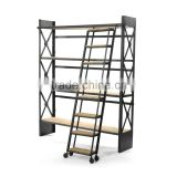 2016 New design Iron Shelves with Ladder, Unique style Iron Shelves, Industrial style Antique look Book Case