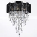 Modern Contemporary Black Crystal Chandelier Ceiling Light Lamp Lighting with Fabric Shade CZ1051/4B