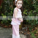New design baby clothing Comfortable Baby girls Lace Pink ruffle pants