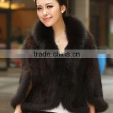 High quality knitted mink fur shawl with fox fur trim