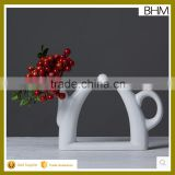 Simple modern table ceramic vase teapot shape white Home Decoration Pieces for centerpiece