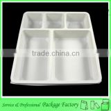 5 grid compartment plastic disposable food tray