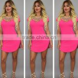 2016 Summer Sexy Club Dress Short Sleeve Split Bandage Bodycon Cheap O-Neck
