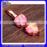 Custom Lab Created Double Heart 925 Sterling Silver Red Fire Opal Pendant Wholesale