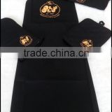 China supplier high quality hotel customed printing /embroidery logo apron. oven mitt ,potholder and chef hat set