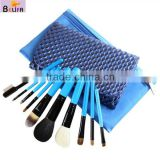 10pcs High-end Natural Hair Wood Handle Black Pouch Professional Cosmetic Brush Set kit