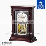 Classic table clock with hand-crafted carving and traditional lacquer finish wood Good quality PW1417