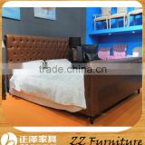 Neoclassic style bedroom furniture design leather vintage wooden bed frame