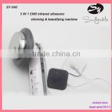 portable home use mini slimming EMS beautify machine ,ultrasonic infrared massage face & body weight loss device