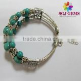 Natural turquoise beaded vintage bracelets,Retro Fashion Jewellery
