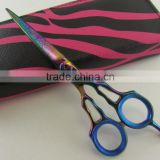 Professional Fancy Titanium Color Barber Hair Salon Scissors With Leather Case Packaging Free Shipping 6""