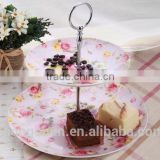 Wholesale garden style cake stand fine porcelain ceramic fruit plate/dessert plate/cake stand