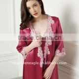 Luxury and Nice Quantity Rose Red Silk-Fabric Bathrobe -057