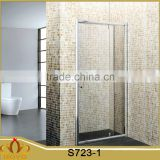satin aluminium alloy profile bathroom hinge shower door with side panel