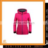 2016 Winter New Style women hooded jacket softshell windproof waterproof breathable warm 100%polyester fiber bonded micro fleece