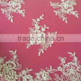 Handwork beade tulle fabric Guipure lace fabric in stock