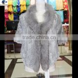 2016 Fashion wrap knitted rabbit fur winter vest with raccoon fur collar long front short back