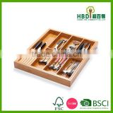 Hot selling bamboo cutlery organizer with knife holder,multifunction cultery organizer