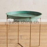 Gold Iron Side Table With green antique tray on metal stool green vintage tray metal coffee table