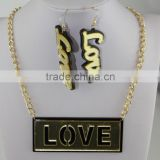 Acrylic English Letters LOVE Sweater Chain Necklace With Earrings Sets