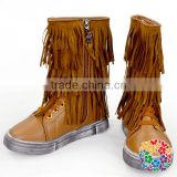 Kids Girls Two Layer Fringe Moccasin Leather Faux Suede Tassel Ankel Boots