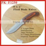 "(PK-F1250) 9-1/2"" Pakka Wood Handle Fixed Blade Survival Hunting Knives"