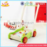 wholesale educational wooden baby activity walker funny toys wooden baby activity walker with building blocks W16E076