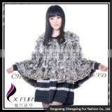 CX-B-127 Rex Rabbit Fur Clothes/ Women Fashion Fur Cape Shawl