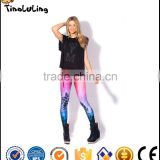 Free size Fashion Women's pink coco tree rainbow prints elastic bodybuilding sexy Girl legging pants