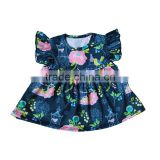 Wholesale Baby Girls Tunic Dress Boutique Floral Bird Print Pearl Dress Flower Children Girl Dress