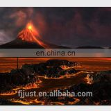 High Quality Volcano Canvas Painting with Led Lights