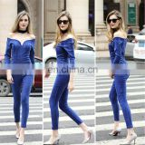 Sexy Women Blue Demin Jumpersuit Jeans Wholesale Off Shoulder Jeans From Factory Directly