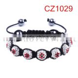 New Arrival Flower Clay Crystal Pave Bead Macrame Bracelets
