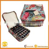 canvas essential oil case holds 42bottles, essential oil bag red flower on blue,essential oil travel case bag-holds 42 bottles