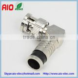 right angle BNC male compression solderless RF connector for RG58,RG59,,RG6U