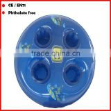 4 holes PVC inflatable floating cup holder inflatable beverage holder for promotion