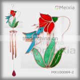 MX100084 china wholesale tiffany style glass craft bird wind chime for garden decoration