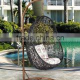 Poland Outdoor Garden fashion Natural wicker Hanging swing chair Artificial Rattan Furniture UGO-G035 Black colour