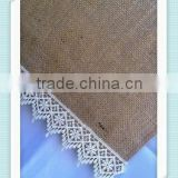YHR#08 natural burlap hessian lace edge banquet wedding wholesale table runner cloth overlay linens