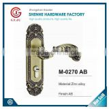Euro standard zinc alloy antique Brass finish reversible mortise gate lock, door handle lock