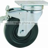 22 Series Double Ball Raceway Structure Top Plate Swivel Black Rubber Caste with Total Braker