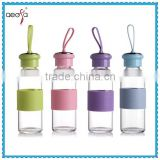 Beautiful design clear borosilicate sport glass water bottle with colored plastic lid
