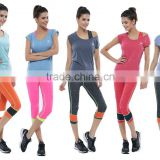 Top Quality Women Gym Workout Clothing Ladies Polyester&Spandex Activewear Customize Fitness O-Neck T Shirt Yoga Pant Sportswear