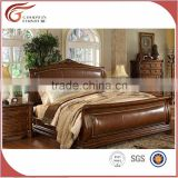 A03.1 Luxury Classical European French Rococo Style Wood Carved Leather Bedroom Furniture Set