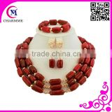 African beads jewelry sets costume jewelry coral beads necklace with high quality and cheap price for wedding dress