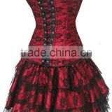 Hot sale overbust waist training corset sexy body shaper red lace corset bustier with short dress