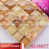15*15*8mm polished glass mixed shell mosaic tile for the wall/floor of bar/hotel/restaurant/private house/villa