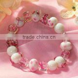 Breast Cancer Awareness Pink Ribbon Bead Bracelet
